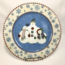 Sakura Blue Snowman Serving Platter Debbie Mumm Chop Plate Winter Snowfl... - $19.75