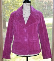Chico's Size 1 Purple Suede Leather Women's Lined Jacket Coat (BW) - $37.99