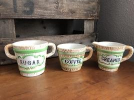 Vtg. Faux Bois Ceramic 3 Piece Set-Coffee Cup, Creamer, & Sugar Bowl Gre... - $16.29