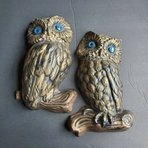 Vintage MCM 70's Owl Blue Eyes Gold Pair Wall Hanging Art Decor Sculpture  - $24.74