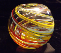 LARGE HAND BLOWN GLASS ART BOWL  MURANO STYLE ROUND VASE - $149.99