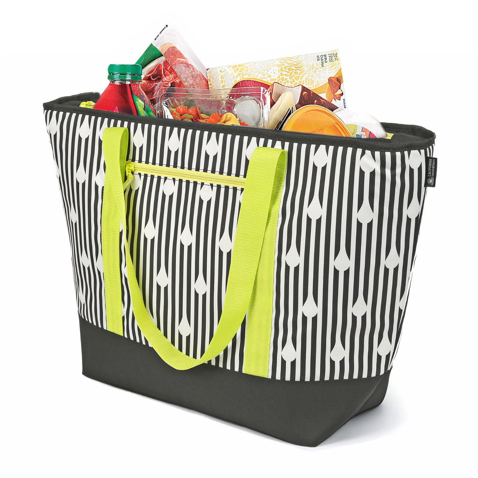 Insulated Soft Cooler Tote Black/White Bag, Size For The Beach, Picnic, Outdoor
