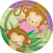Girl Monkey Baby Shower Dessert Plates, 8ct - $2.96