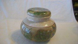 Multicolored Brown with Green Ceramic Candy Dish with Lid from Californi... - $27.71