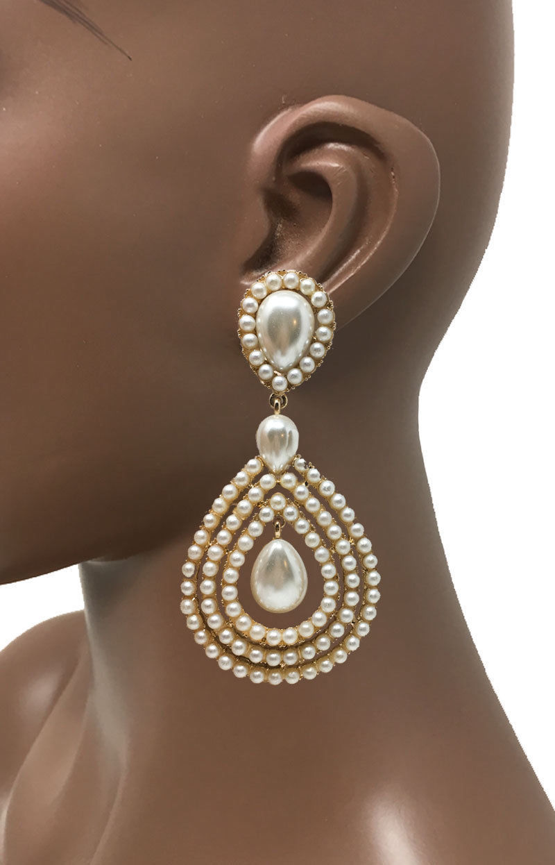 9.5cm lungo a Clip Sera Orecchini Bianco Perle Finte Color Oro Concorso Sposa