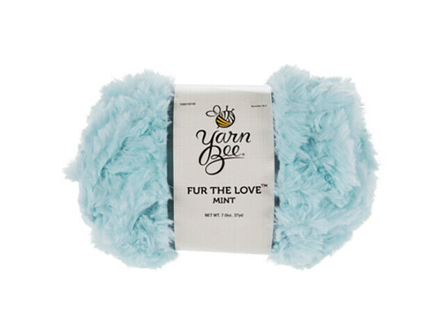 Yarn Bee Fur the Love Yarn in Mint, Perfect for Trimming Sleeves, Baby Shoes