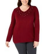 Karen Scott Womens Sweater Merlot Plus Pearl Knit V-Neck Red 1X - $38.99