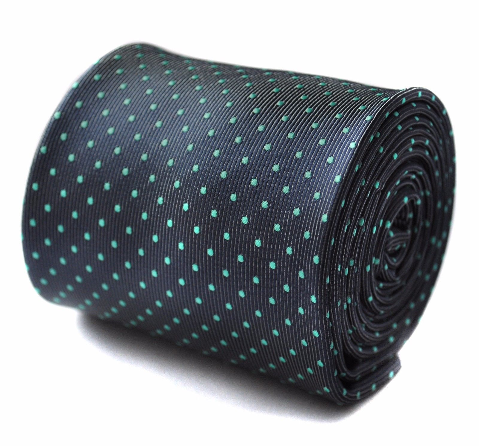 Frederick Thomas Grey Mens Tie with Turquoise Pin Spot Design FT784
