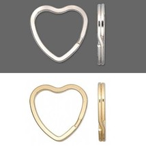 Lot of 10 Big Heart Shaped Steel Split Rings Keyring Ring For Keys Purses + - $6.43+