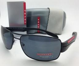 Polarizados Gafas de Sol Prada Sport Sps 53N 1BO-5Z1 65-16 Negro Mate con / Gris - $315.90