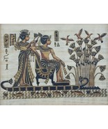 Egyptian Pharaoh King Tut & Queen on River Nile Egypt Kemet Papyrus Art ... - $138.59