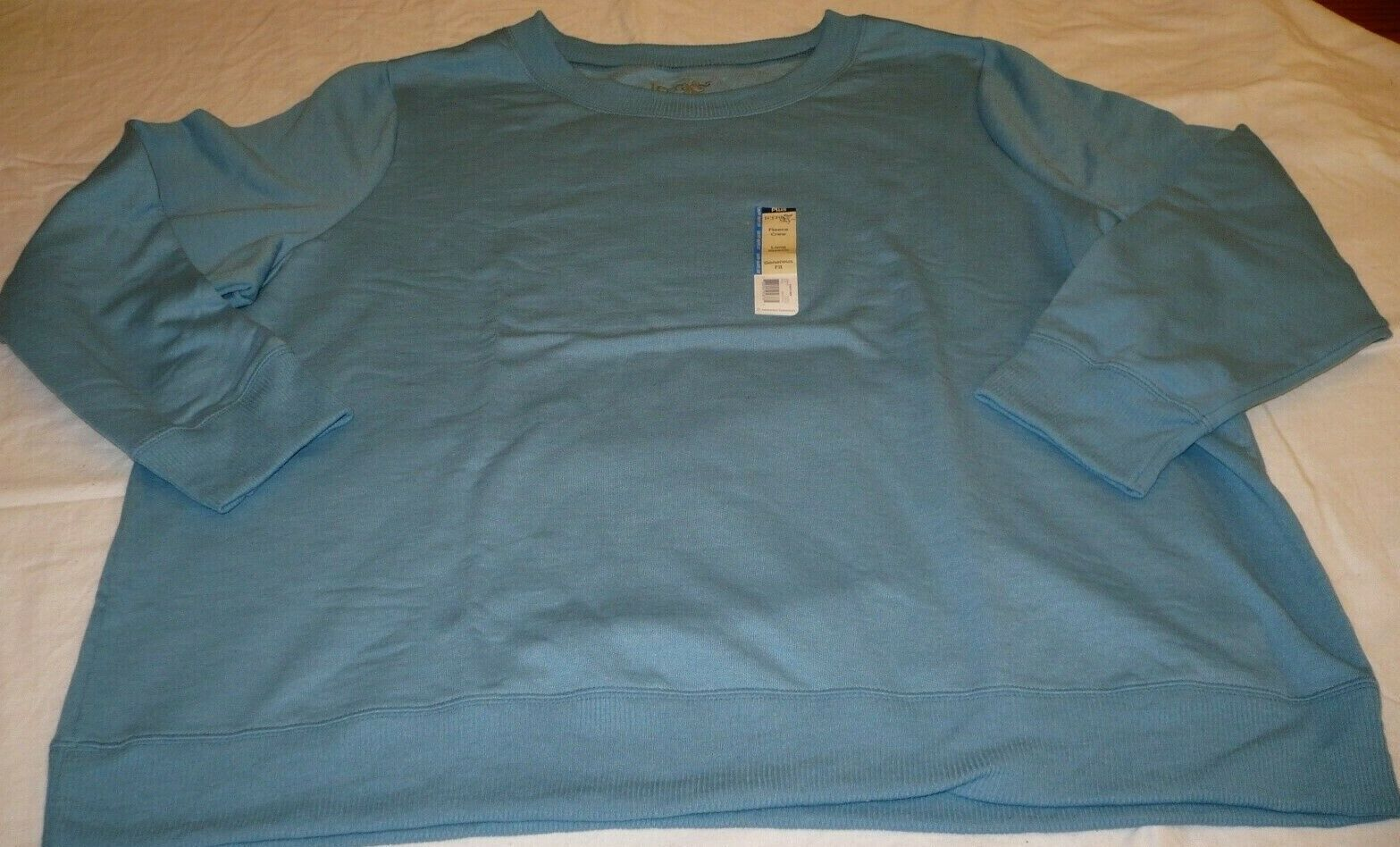 Primary image for Terra & Sky Fleece Crew Long Sleeve Shirt Light Blue 4X 28-30W Generous Fit