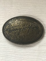 Estate Etched Oval Antique Goldtone TOMMY HILFIGER Metal Oval Belt Buckl... - $12.19