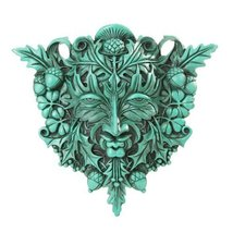 ANTIQUE CELTIC GREENMAN PLAQUE HOME DECOR - $31.19