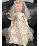 VINTAGE 1950's Revlon? Bride Rubber Rooted Lash Bridal Tule Lace Gown Doll - $129.49