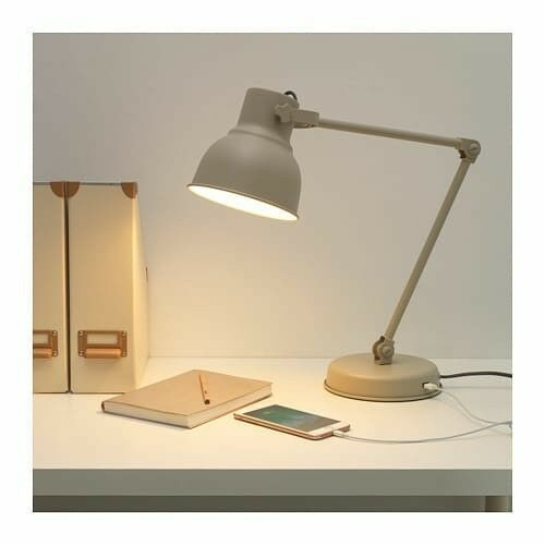 IKEA Hektar Work Lamp Beige with USB port