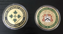 Us Army Challenge Coins 4th Infantry Division And Command And General Staff Coll - $33.87