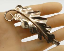 NAPIER 925 Sterling Silver - Vintage Large Curly Leaf Detail Brooch Pin - BP1403 - $36.52