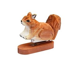 Cute Wooden Carved Squirrel Mini Stapler Office Desktop Stapler Stationery - $19.60