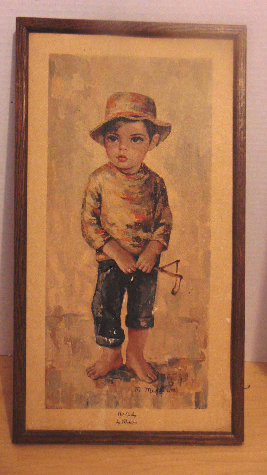 "Vintage M. Medeiros Signed Not Guilty 1960's Boy With Sling Shot  9 1/2"" 18"""