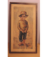 """Vintage M. Medeiros Signed Not Guilty 1960's Boy With Sling Shot  9 1/2""""... - $20.79"""