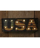 USA new Primitive Led Wall Sign in Distressed Tin - $38.00