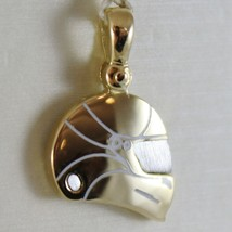 SOLID 18K WHITE & YELLOW MOTOR RACING HELMET, SATIN PENDANT CHARM MADE IN ITALY image 1