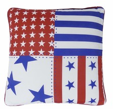 FILLED MODERN STARS & STRIPES USA  AMERICAN FLAG RED WHITE BLUE CUSHION ... - £8.35 GBP