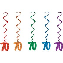 Number 70 Whirls (5pc pkg) multi color BIRTHDAY OR ANNIVERSARY DECORATION - $7.91