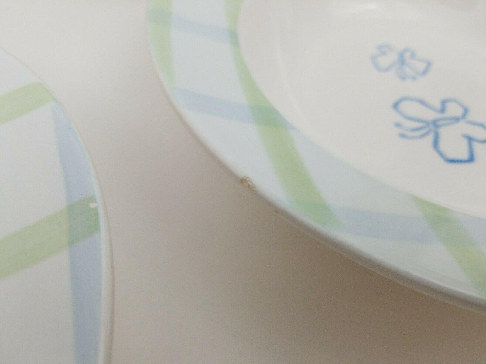 "Disney Rimmed Pasta Soup Bowls Set of 3 Butterflies Green Blue Plaid Border 9"""