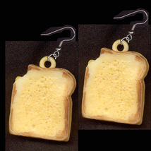 SANDWICH EARRINGS-Vintage Toast Cheese Food Charm Funky Jewelry - $10.97
