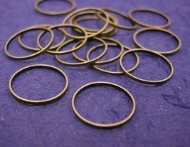 50pc 12mm antique bronze smooth metal ring-1472 - $2.25