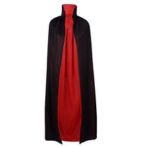 "55"" Stand Collar Reversible Cloak Masquerade Cape Costume Black and Red ... - $38.81"