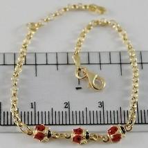 18K YELLOW GOLD GIRL BRACELET 6.30 GLAZED LADYBIRD LADYBUG ENAMEL, MADE IN ITALY image 1