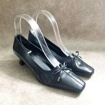 """Easy Spirit Womens Broadpeak  Size 6.5 N Black  Leather Slip On 2"""" Heels Pumps - $16.99"""
