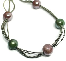 """MULTI WIRES NECKLACE GREEN PURPLE BIG MURANO GLASS SPHERES, 50cm 20"""" ITALY MADE image 2"""