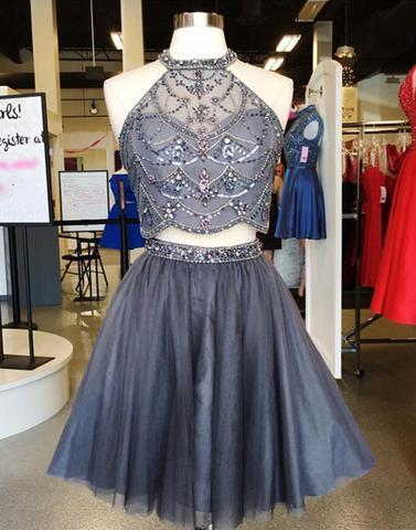 Gray two pieces short prom dresses, homecoming dresses,PD2055