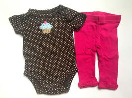 Baby Girl's Size NB Newborn Two Piece Carter's Brown Cupcake Top & Pink Leggings - $16.00