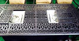 Fire pit dining table Cast Aluminum Propane Double Burner 9 Piece Outdoor Set image 8