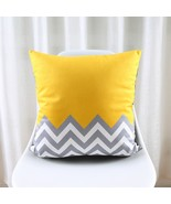 Nordic Style Cushion Cover Geometric Cushion Yellow Decorative Pillows Black Vel - $10.99