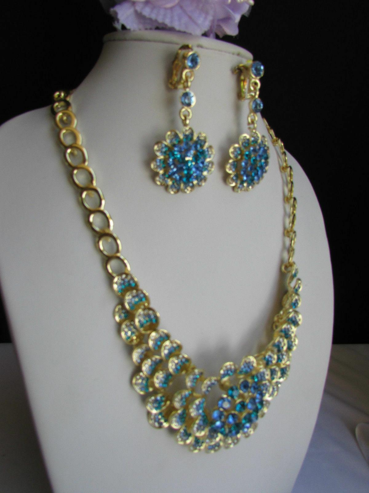 Nuevo Mujer Grande Dorado Flor Tendencia Jewelry Azul Diamantes Collar image 6