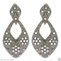 Rainbow Moonstone Sterling Silver Pave 11.33ct Diamond Dangle Earrings 1... - $2,474.01