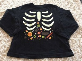 Jumping Beans Boys Black Glow In The Dark Skeleton Candy Long Sleeve Shirt 4T - $6.43