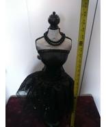 """ROOM TABLE DECOR MANNEQUIN 28"""" SEQUIN BLACK SATIN BOW DRESS NECKLACE PAR... - $60.78"""