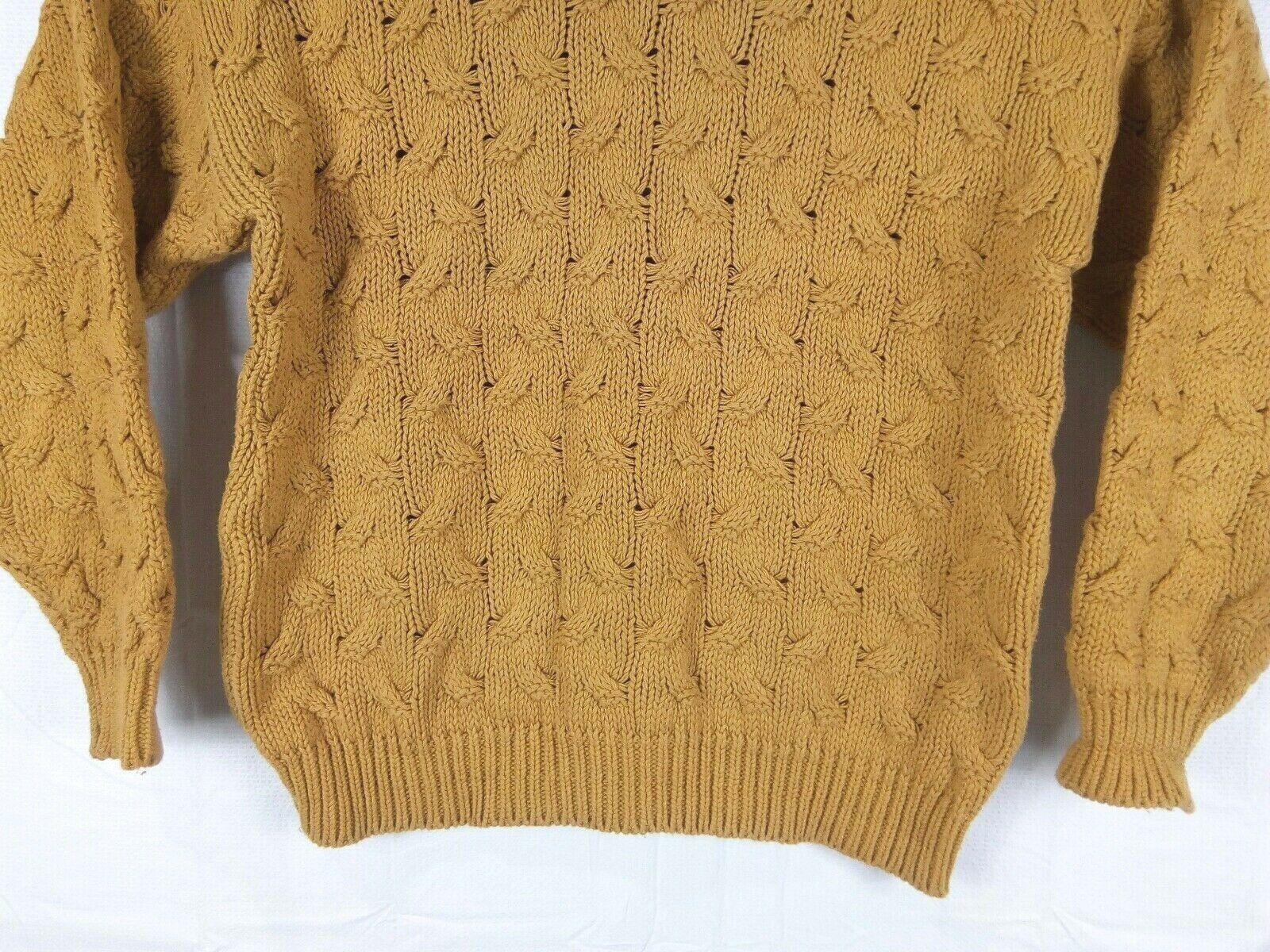 Vtg Ellis Island Men Sweater XL Mustard Yellow Crewneck Chunky Cardigan Pullove image 4