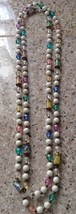 """RETRO PASTEL LUCITE AND GOLD TONE BEADS 56"""" STRANDED NECKLACE - $12.34"""