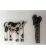 Lot of 2 Bookmarks Plastic Cow and Heat Stick Bookmark - $8.00