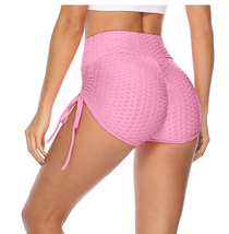 Woman Anti Cellulite Ruched Shorts Pants Yoga Gym Leggings Pink Trousers... - $9.90