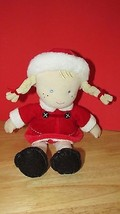 Carters Baby plush Doll blonde hair blue eyes red dress snowflakes black... - $9.99