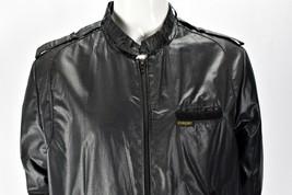 Vintage 70s Cooper Black Shiny Bomber Windbreaker Cafe Racer Jacket Size... - $44.50